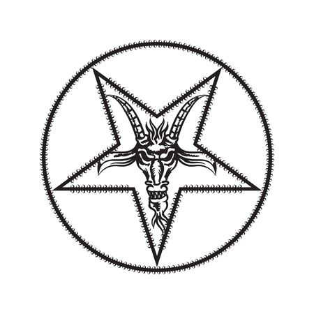 The head of a goat in the center of an inverted five-pointed star on a white isolated background. Vector image eps 10 Vetores