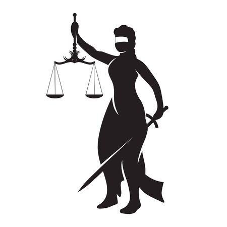 Themis lady justice is a black silhouette on a white isolated background. Vector image Vektorové ilustrace