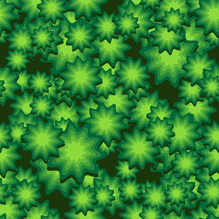 seamless pattern of viruses in the shape of stars on a green background. Vector image