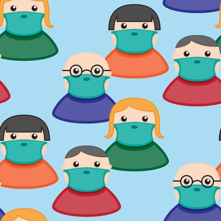 Seamless pattern of people in protective medical masks on a blue background. Vector image