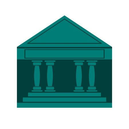 Icon of a building, court, or Bank on a white isolated background. Vector image.