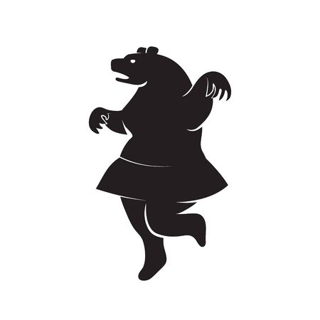 Icon silhouette of a bear in a skirt on a white isolated background. Vector image