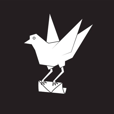 A pigeon holds an envelope in its paws on a black isolated background. Vector image eps 10 Stock Illustratie