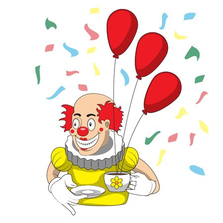 Cartoon clown with Cup saucer and balloons on an isolated background. Vector image 向量圖像