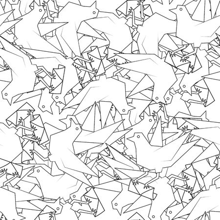 Seamless abstract bird pattern with envelope line on white background.  イラスト・ベクター素材