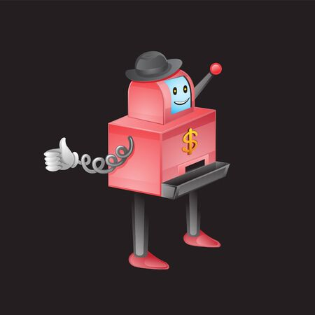 Slot machine cartoon character on a black isolated background. Vector image eps 10