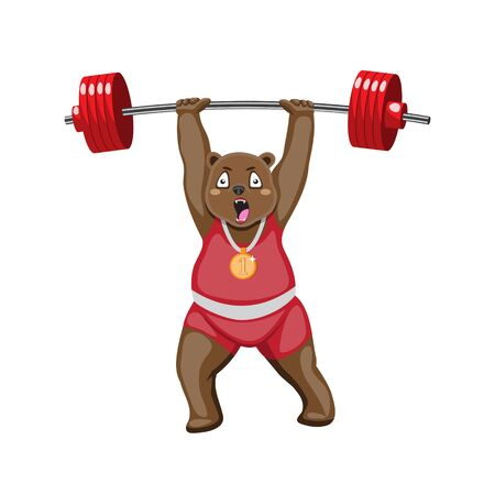 Cartoon bear athlete with a barbell on a white isolated background. Vector image eps 10