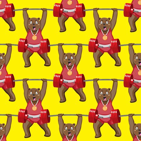 seamless pattern of a bodybuilder bear with a barbell on a yellow background. Illustration