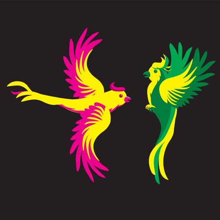 Cartoon parrot on a black isolated background. Vector image eps 10