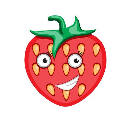 Icon cartoon character strawberry on a white isolated background. Vector image eps 10 Иллюстрация