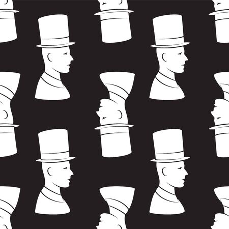 seamless pattern of a head in a vintage hat on a black background. Vector image