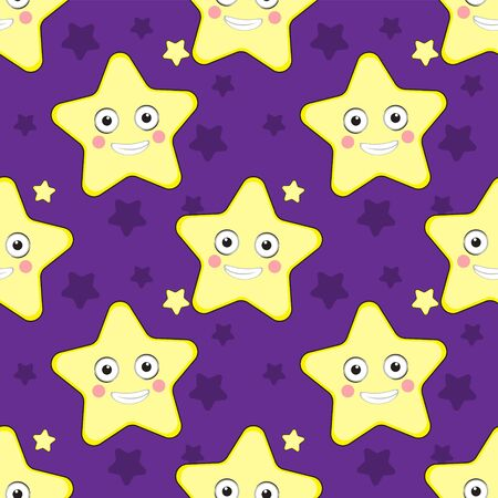 Seamless Wallpaper of cartoon stars on a purple background. Vector image