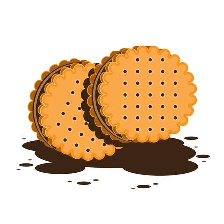 Sandwich-Kekse oder Cracker mit Schokoladenfüllung auf weißem, isoliertem Hintergrund. Vektorbild