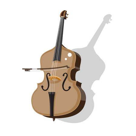 double bass and bow on an isolated white background. Vector image. Stock Illustratie