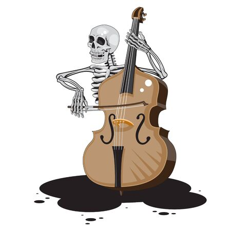 The character skeleton plays the double bass on a white isolated background. Vector image