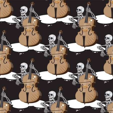 seamless skeleton pattern playing double bass black cartoon background. Vector image