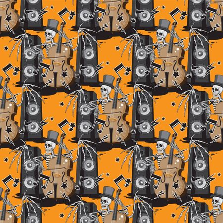 a seamless pattern of a skeleton with wings in a hat plays a double bass music dynamics notes on an orange background. Stock Illustratie