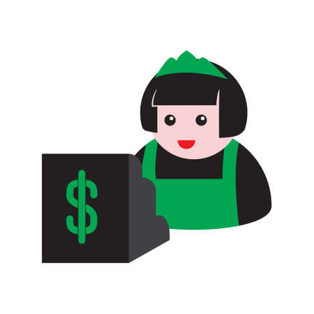 seller and cash register icon on a white isolated background. Vector image 向量圖像