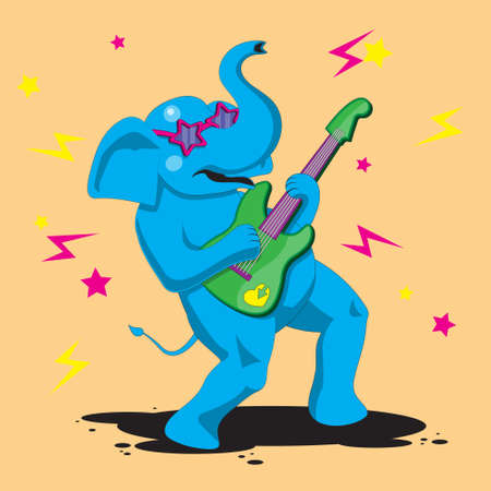 an elephant character plays a guitar on an orange isolated background. Vector image eps 10 Illusztráció