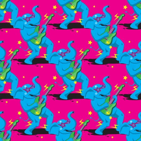 seamless pattern of an elephant playing a guitar on a pink background. Vector image eps 10 Illusztráció