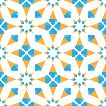 seamless pattern of blue ice cream cone on white background. Vector image Vettoriali