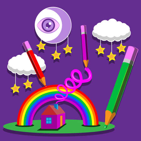 illustration of a rainbow moon house smoke pencils stars on an isolated purple background.