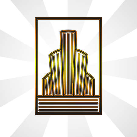 logo abstract buildings outline city in gold on a white isolated background. Logo