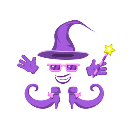 set of witch hat glasses gloves boots wand magic smile on a white isolated background. Vector image eps 10 Stock Illustratie