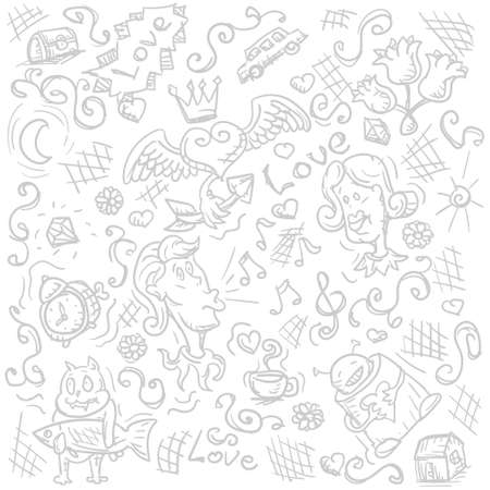 Hand drawn abstract Doodle love heart Doodle on white background. Vector image eps 10