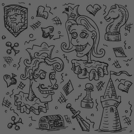 The background of the person king Queen people chess, card fortress hand drawn Doodle on a gray background. Vector image