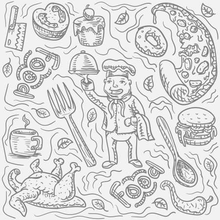 Food chef character hand drawn Doodle on white isolated background. Vector image