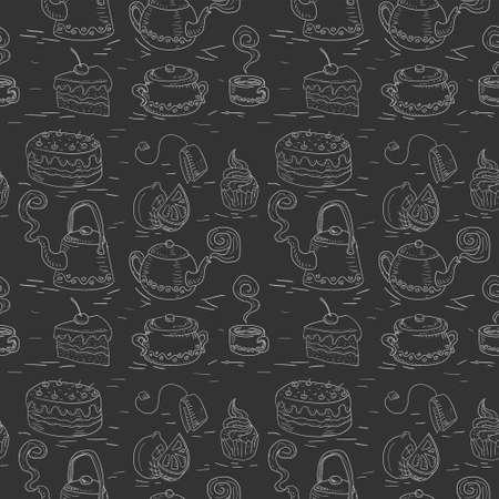 seamless pattern of hand drawn Doodle chalk tea cake set on a black background. Stock Illustratie