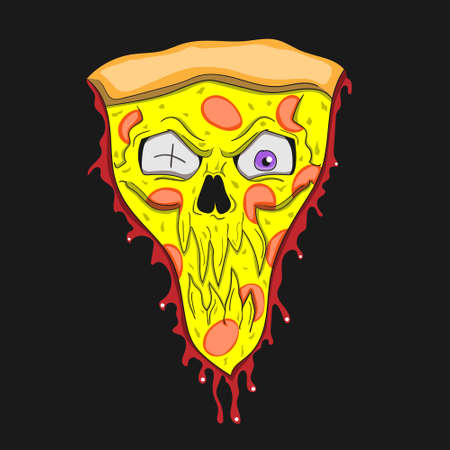 Pizza is a zombie cartoon character on a black isolated background.