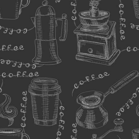 Seamless coffee pattern drawn in chalk coffee grinder coffee Cup on black background. Vector image