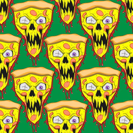 Seamless pattern of pizza character cartoon zombie on a green background. Vector image eps 10