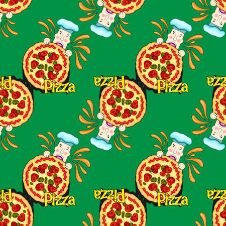 seamless pattern of cartoon pizza chef eating on green background. Vector image Stock Illustratie
