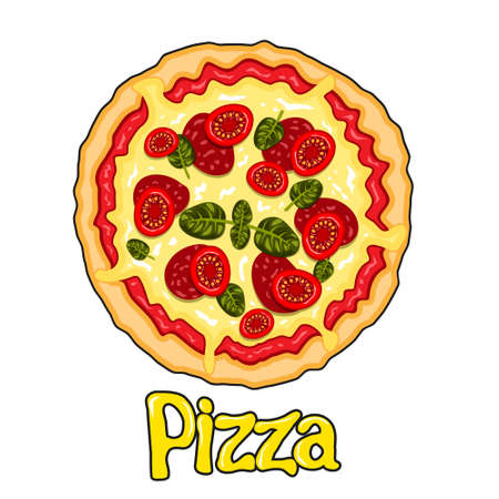 Cartoon pizza round with tomatoes sausage cheese on a white isolated background. Vector image