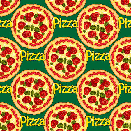 seamless pattern of pizza cartoon letters on a green background. Vector image
