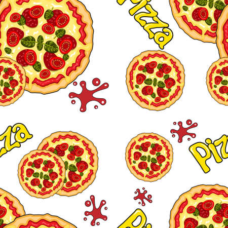 seamless pattern of pizza cartoon letters on a white background.