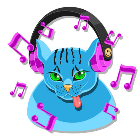 The cat s avatar in headphones shows the language of the note on a white isolated background. Stock Illustratie