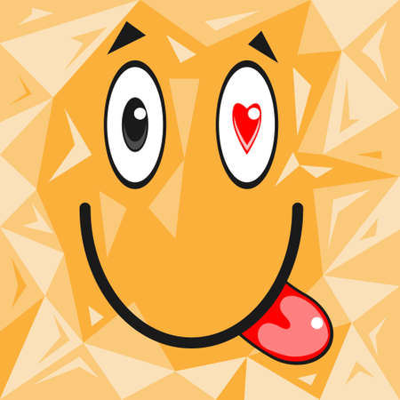 Cartoon face with eyes hearts and tongue vector illustration. Stock Illustratie