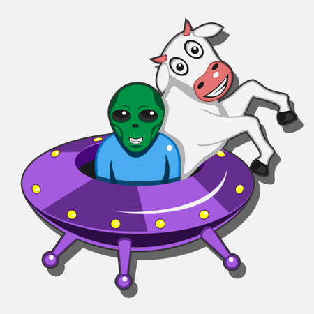 an alien spaceship steals a cow on a white isolated background. Stock Illustratie
