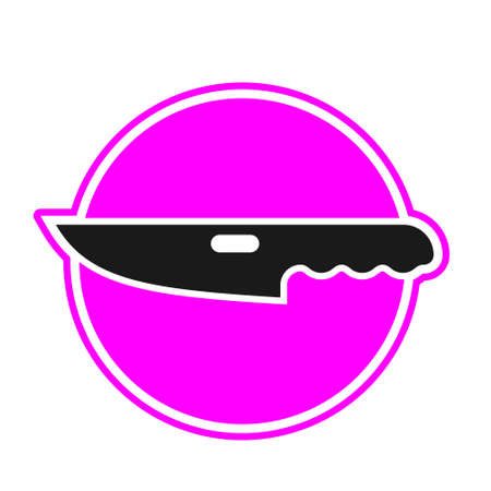 The knife icon is a black silhouette in a pink circle on a white isolated background.