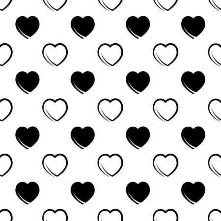 seamless abstract pattern of black hearts on a white background.