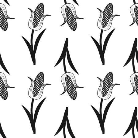 seamless corn pattern black on white background. Stock Illustratie