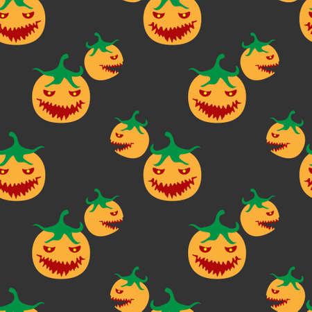 Seamless Halloween pumpkin pattern on black background.