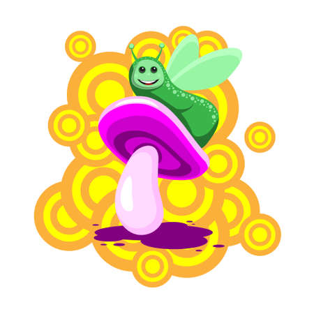 The caterpillar character sits on a pink mushroom on a white isolated background