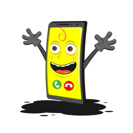 Funny cartoon smartphone with hands on white isolated background. Vector image eps 10 Stock Illustratie
