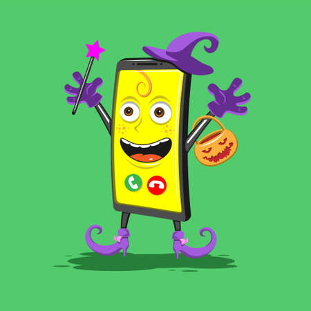 funny cartoon smartphone in boots hat with basket for Halloween on a green background. Vector image eps 10