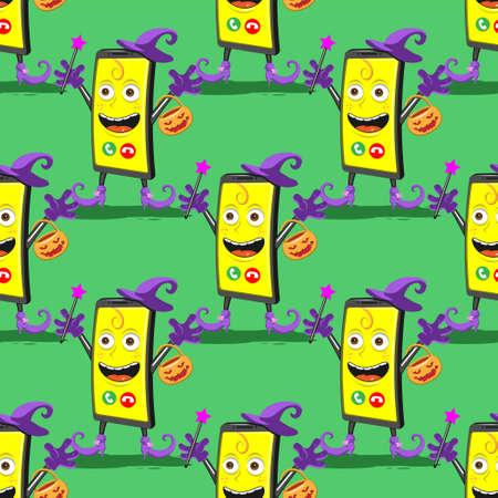 seamless pattern of funny cartoon smartphone in the hat and boots for Halloween on a green background.